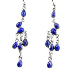 12.72cts natural blue lapis lazuli sterling silver chandelier earrings r38662
