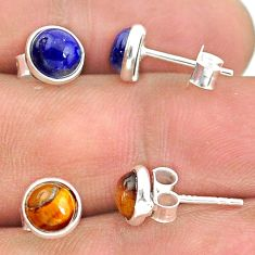 4.07cts natural blue lapis lazuli tiger's eye 925 silver stud earrings t23892