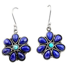 14.05cts natural blue lapis lazuli turquoise 925 silver dangle earrings d45832
