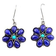 14.72cts natural blue lapis lazuli turquoise 925 sterling silver earrings d45461
