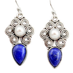 6.57cts natural blue lapis lazuli white pearl 925 silver dangle earrings r21974