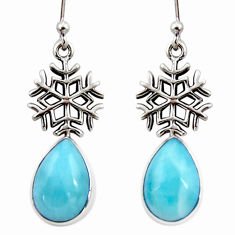 6.84cts natural blue larimar 925 silver dangle snowflake earrings r48250