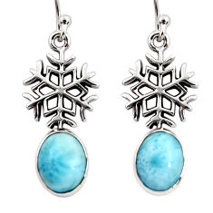 4.70cts natural blue larimar 925 silver dangle snowflake earrings r48261