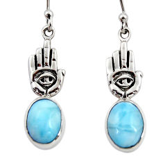 5.23cts natural blue larimar 925 silver hand of god hamsa earrings r48248