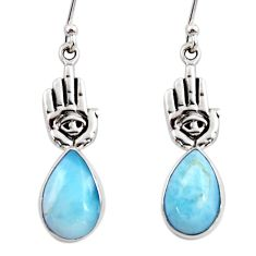 6.10cts natural blue larimar 925 silver hand of god hamsa earrings r48249