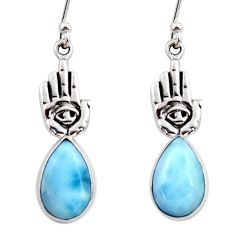 7.33cts natural blue larimar 925 silver hand of god hamsa earrings r48257