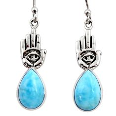 6.54cts natural blue larimar 925 silver hand of god hamsa earrings r48258
