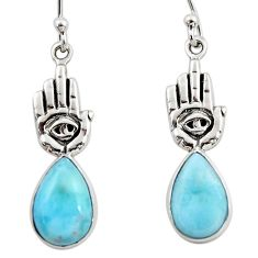 7.30cts natural blue larimar 925 silver hand of god hamsa earrings r48270