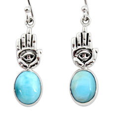 4.43cts natural blue larimar 925 silver hand of god hamsa earrings r48271
