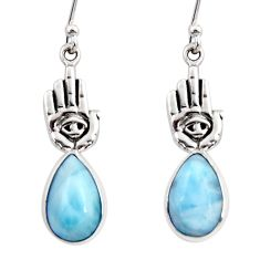 7.33cts natural blue larimar 925 silver hand of god hamsa earrings r48277
