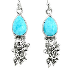 5.76cts natural blue larimar 925 sterling silver angel earrings jewelry r72419