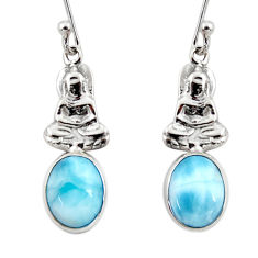 3.89cts natural blue larimar 925 sterling silver buddha charm earrings r48255
