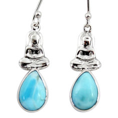5.61cts natural blue larimar 925 sterling silver buddha charm earrings r48265