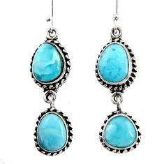 Clearance Sale- 12.32cts natural blue larimar 925 sterling silver dangle earrings jewelry d45775