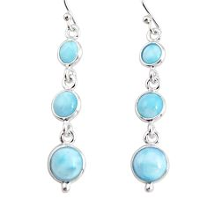7.25cts natural blue larimar 925 sterling silver dangle earrings jewelry r19778