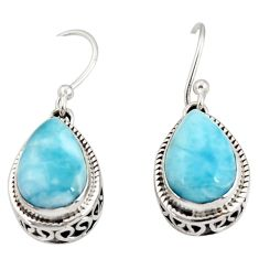 8.25cts natural blue larimar 925 sterling silver dangle earrings jewelry r36621