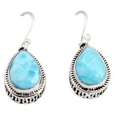 8.25cts natural blue larimar 925 sterling silver dangle earrings jewelry r36625
