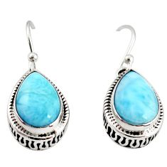 8.25cts natural blue larimar 925 sterling silver dangle earrings jewelry r36626