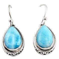 8.16cts natural blue larimar 925 sterling silver dangle earrings jewelry r36627