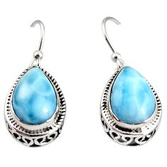 7.97cts natural blue larimar 925 sterling silver dangle earrings jewelry r36628