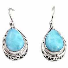 8.25cts natural blue larimar 925 sterling silver dangle earrings jewelry r36631