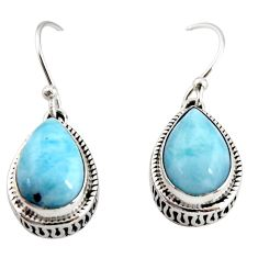 8.76cts natural blue larimar 925 sterling silver dangle earrings jewelry r36635