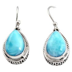 8.22cts natural blue larimar 925 sterling silver dangle earrings jewelry r36640