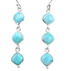 14.18cts natural blue larimar 925 sterling silver dangle earrings jewelry r38141