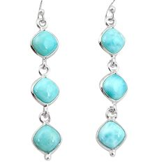 14.18cts natural blue larimar 925 sterling silver dangle earrings jewelry r38142