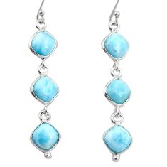 14.18cts natural blue larimar 925 sterling silver dangle earrings jewelry r38143