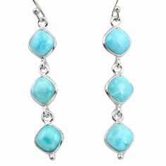 14.18cts natural blue larimar 925 sterling silver dangle earrings jewelry r38145