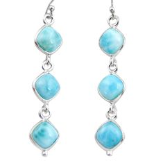 14.12cts natural blue larimar 925 sterling silver dangle earrings jewelry r38146