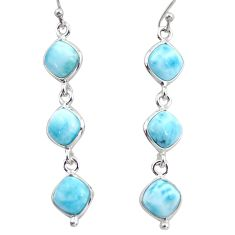 14.18cts natural blue larimar 925 sterling silver dangle earrings jewelry r38147
