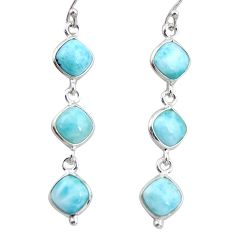 13.60cts natural blue larimar 925 sterling silver dangle earrings jewelry r38149