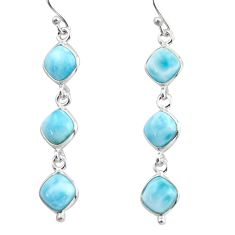 14.01cts natural blue larimar 925 sterling silver dangle earrings jewelry r38153