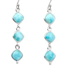 13.54cts natural blue larimar 925 sterling silver dangle earrings jewelry r38154