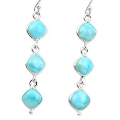 14.12cts natural blue larimar 925 sterling silver dangle earrings jewelry r38155