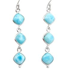 13.43cts natural blue larimar 925 sterling silver dangle earrings jewelry r38157