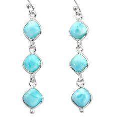 14.12cts natural blue larimar 925 sterling silver dangle earrings jewelry r38158