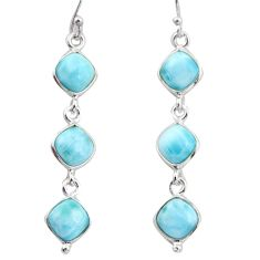 13.98cts natural blue larimar 925 sterling silver dangle earrings jewelry r38160