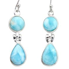 12.54cts natural blue larimar 925 sterling silver dangle earrings jewelry r38161