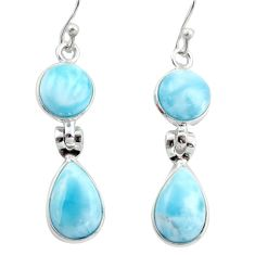 13.13cts natural blue larimar 925 sterling silver dangle earrings jewelry r38162