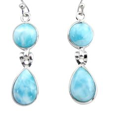 11.96cts natural blue larimar 925 sterling silver dangle earrings jewelry r38163