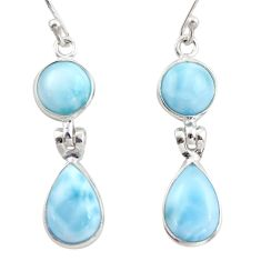 11.93cts natural blue larimar 925 sterling silver dangle earrings jewelry r38165