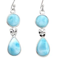 11.93cts natural blue larimar 925 sterling silver dangle earrings jewelry r38166