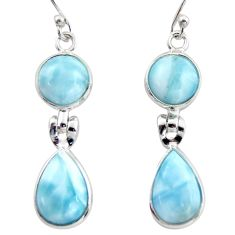 12.49cts natural blue larimar 925 sterling silver dangle earrings jewelry r38169