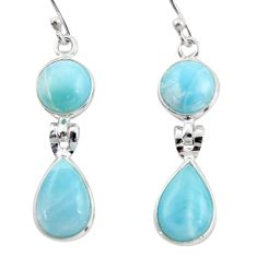 11.93cts natural blue larimar 925 sterling silver dangle earrings jewelry r38177