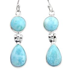 12.57cts natural blue larimar 925 sterling silver dangle earrings jewelry r38180
