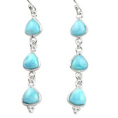 11.93cts natural blue larimar 925 sterling silver dangle earrings jewelry r38181