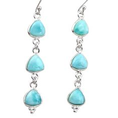 12.57cts natural blue larimar 925 sterling silver dangle earrings jewelry r38183